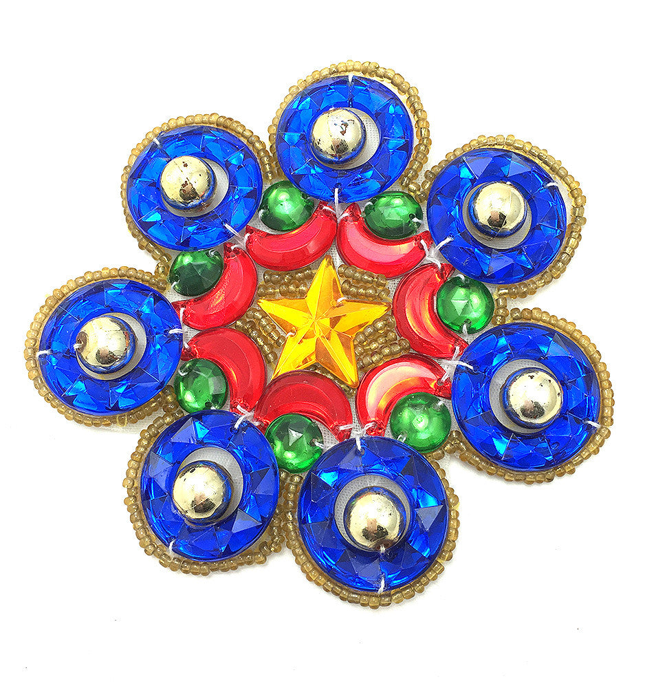Designer Motif Flower with Multi-Color Acrylic and Gold Beads 3.5""