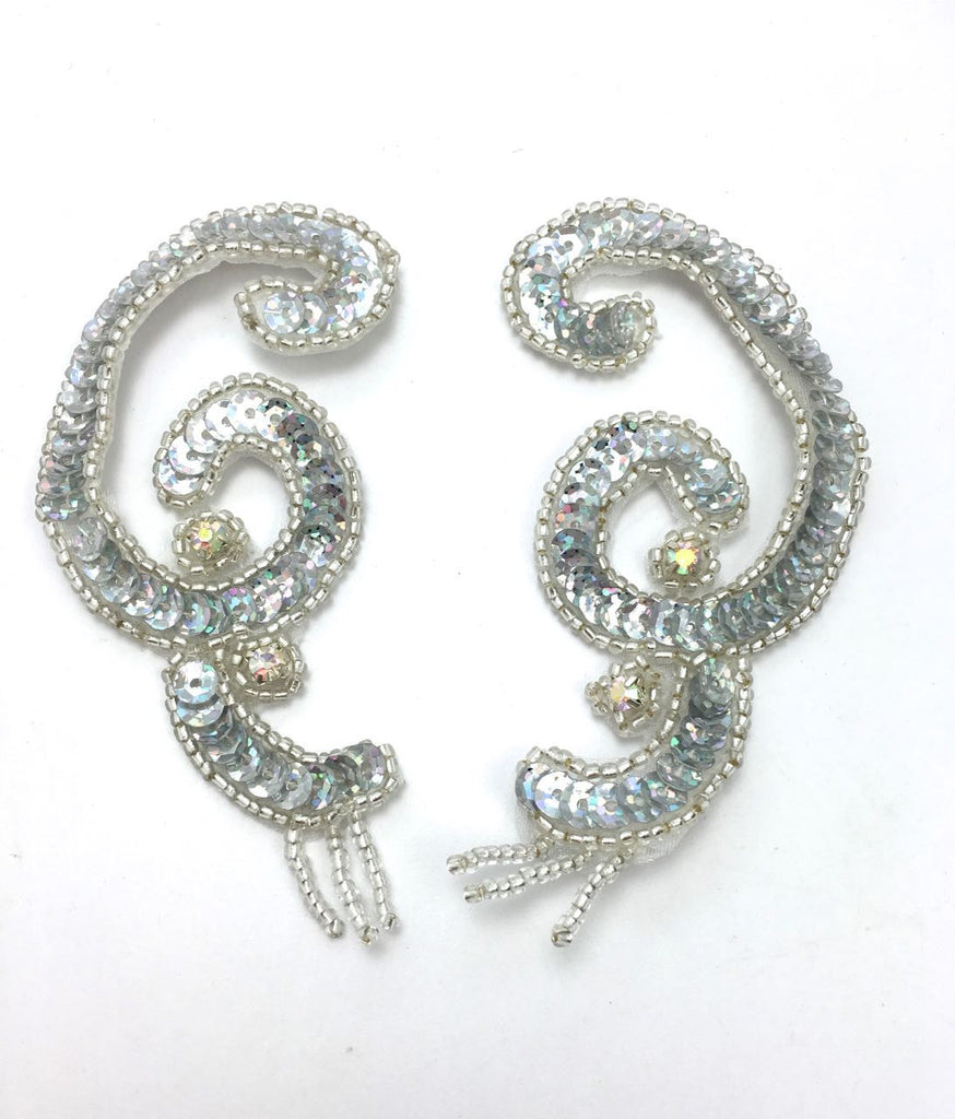"Designer Motif Swirl Pair with Silver Spotlight Sequins, Beads and Rhinestones  4"" x 2"""