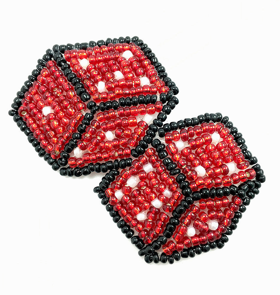 "10 PACK  Dice Red and Black Beaded  1.25"" x 2.5"""