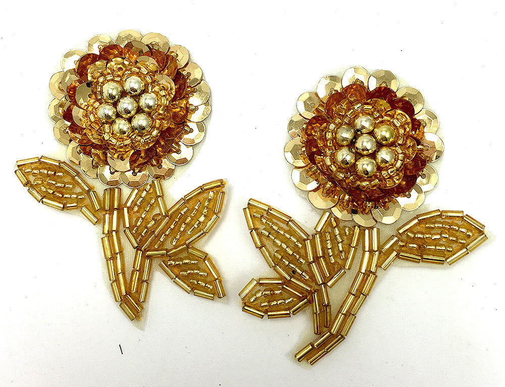 "Flower Pair with Gold Sequins and Beads 2.5"" x 2"""