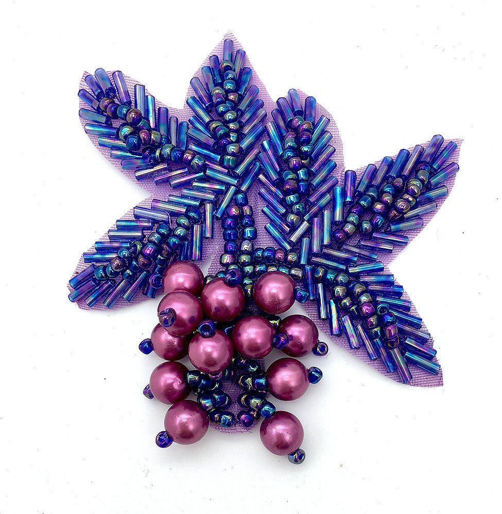 "Flower with Purple Beads 3.5"" x 3"""