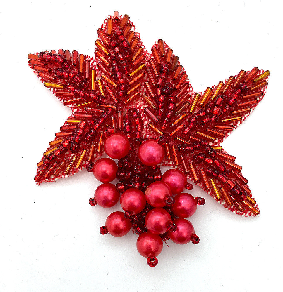 "Flower with Red Beads 3.5""  x 3"""