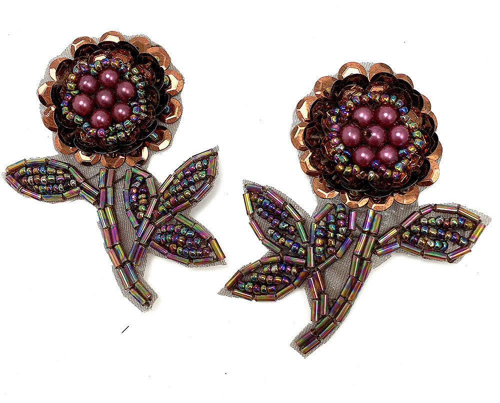 Flower Pair with Bronze Moonlight Sequins and Beads 2.5