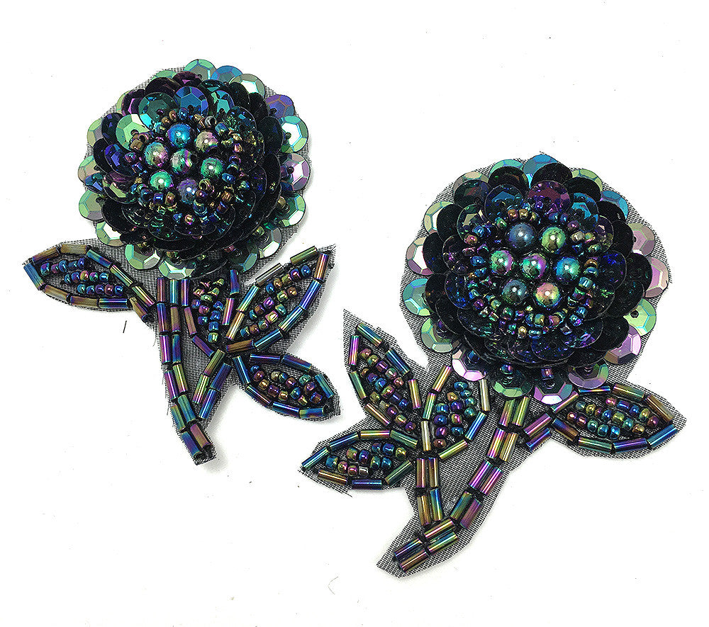 "Flower Pair with Moonlight Sequins and Beads 2.5"" x 2"""
