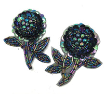 "Load image into Gallery viewer, Flower Pair with Moonlight Sequins and Beads 2.5"" x 2"""