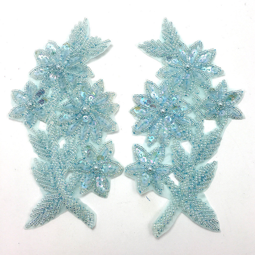 "Designer Motif Flower Pair with Powder Blue Sequins and Beads  3"" x 6"""