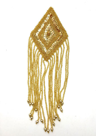 "Epaulet with Gold Sequins and Beads Diamond Shaped 9"" x 4"""