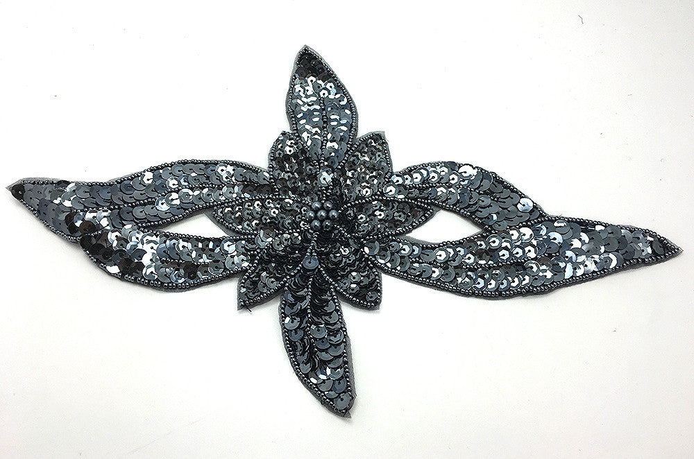 "Flower with Charcoal Grey Sequins and Beads  11"" or 13"""
