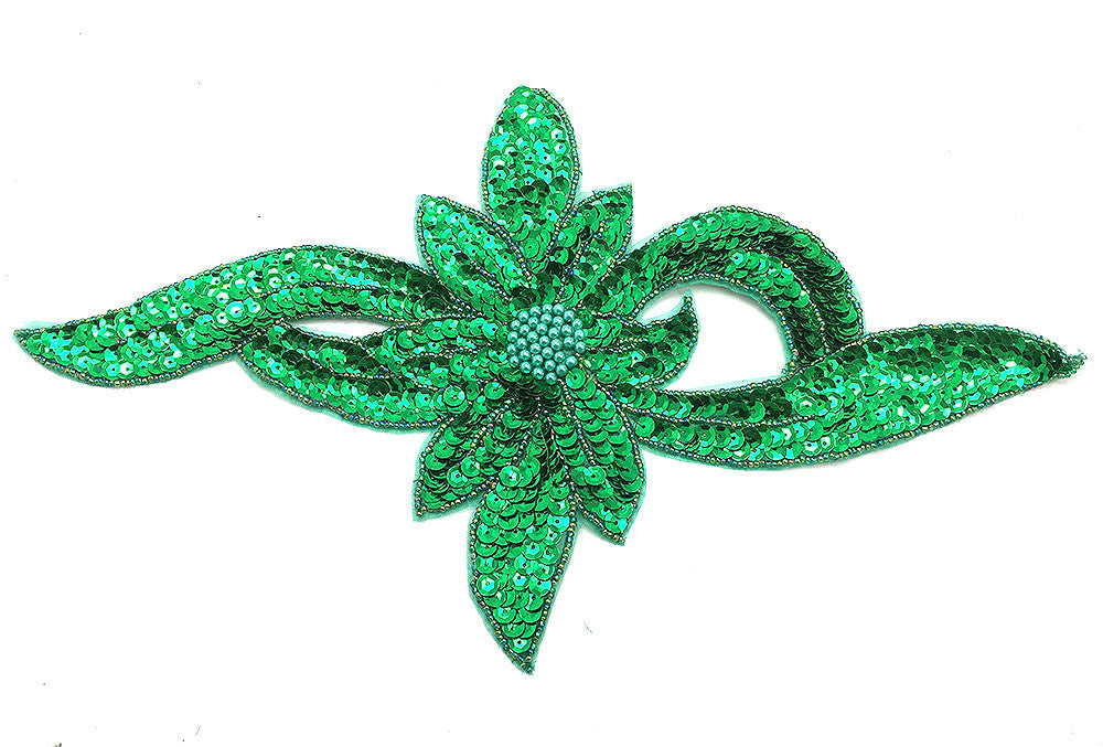 "Flower Green Sequins and Beads 13.5"" x 7.25"""