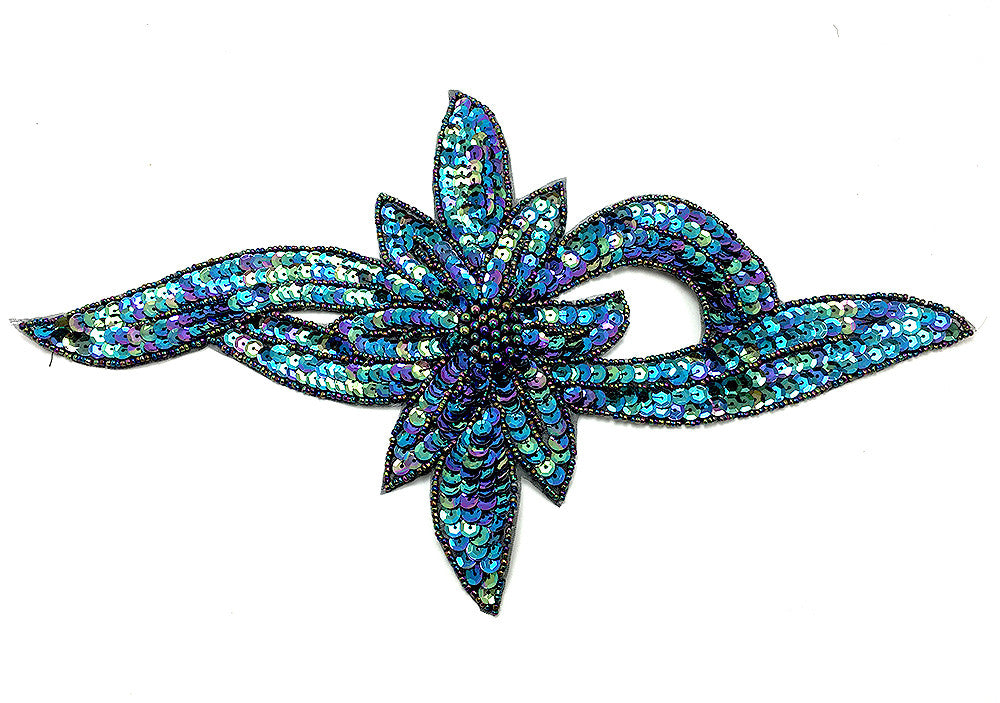 "Flower with Bright Moonlight Sequins and Beads 7.5"" x  12.5"""