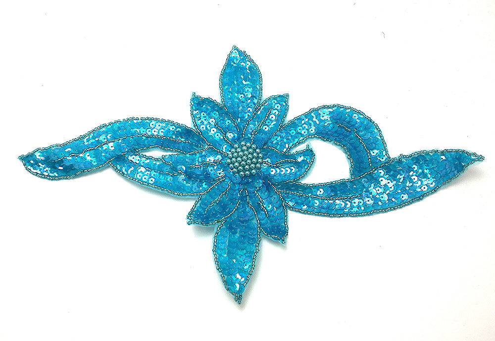 "Flower Light Turquoise Sequins and Beads 13.5"" x 7"""