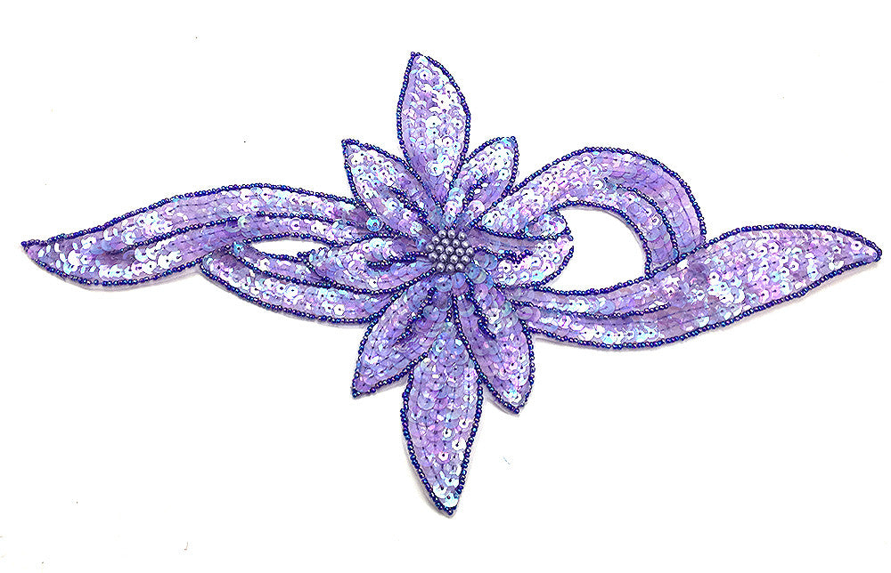 Flower with Lite Purple Sequins and Beads 13.5 x 7.25