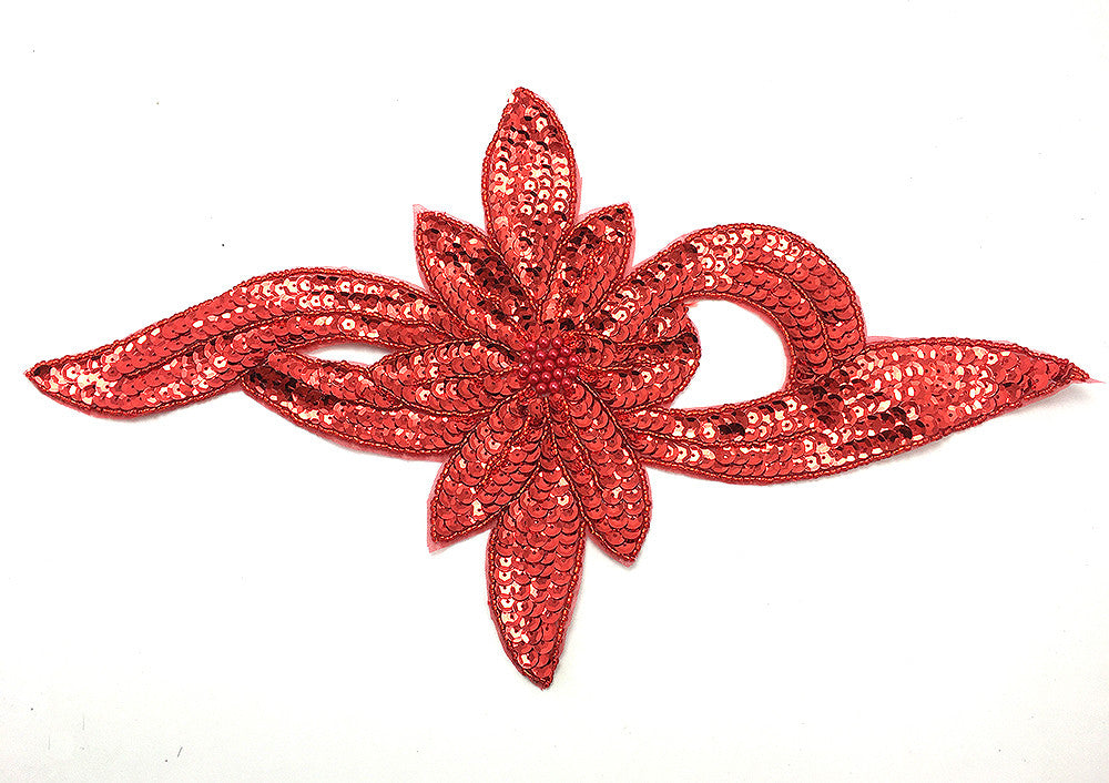 "Flower with Red Sequins and Beads 7.5"" x 13"""