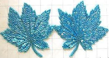 "Load image into Gallery viewer, Leaf Pair with Turquoise Sequins and Beads 5"" x 5"""