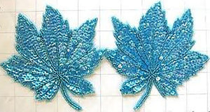"Leaf Pair with Turquoise Sequins and Beads 5"" x 5"""