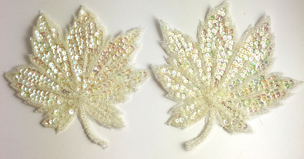"Leaf  Pair with Iridescent Sequins and Beads 5""x 5"""