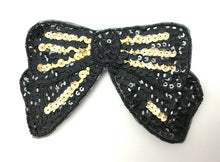 "Load image into Gallery viewer, Bow Black with Gold Sequins 3.25"" x 6.25"""