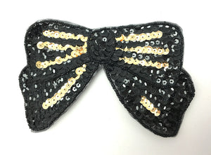 "Bow Black with Gold Sequins 3.25"" x 6.25"""