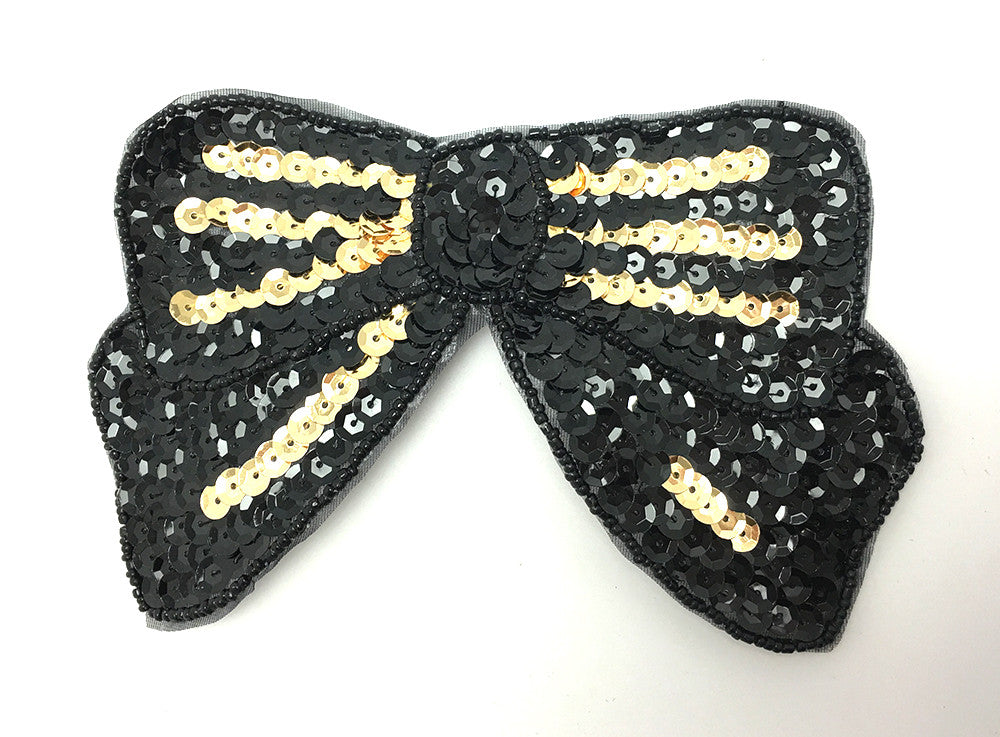 Bow Black with Gold Sequins 3.25