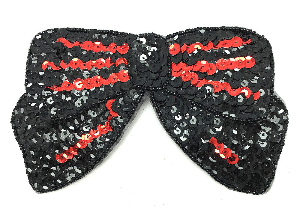 "Bow Black with Red Sequins 3.25"" x 6.25"""