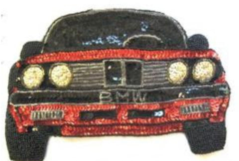 "BMW Sport Car Red Black Sequins and Beads 8.75"" X 6"""