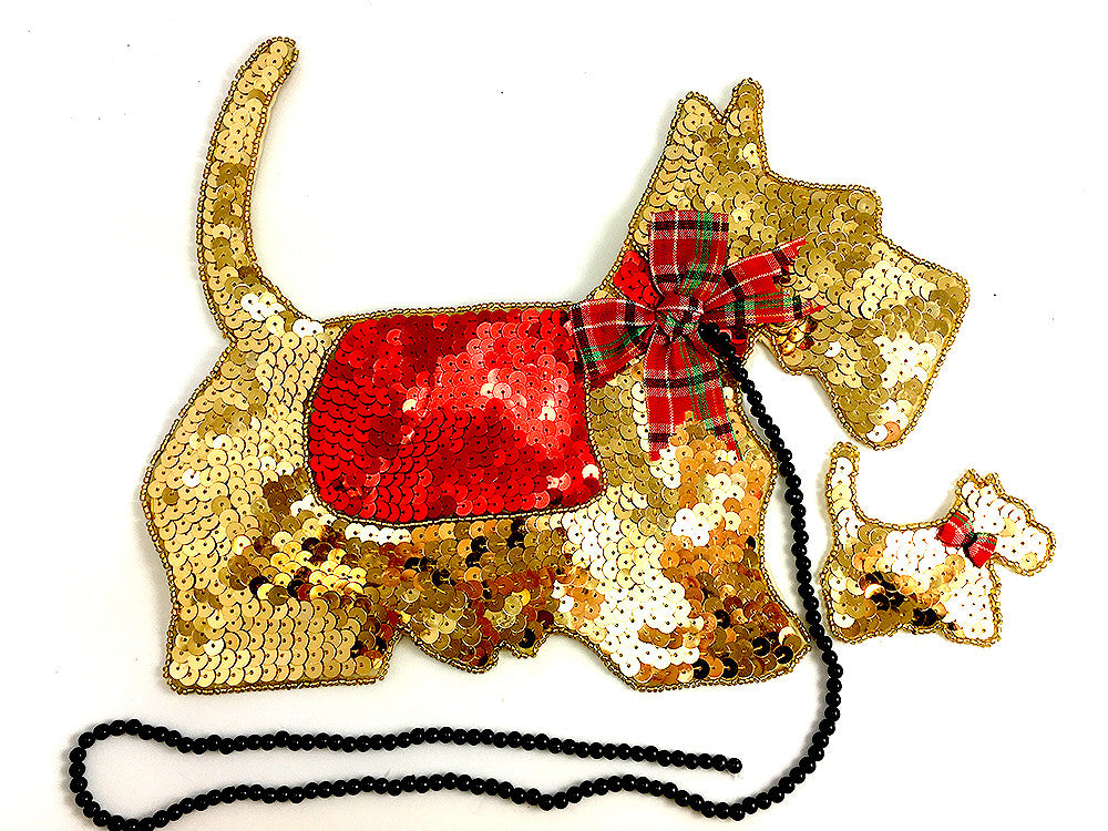 "Scottie Dog with Puppy Large Gold 8.5"" x 11"""