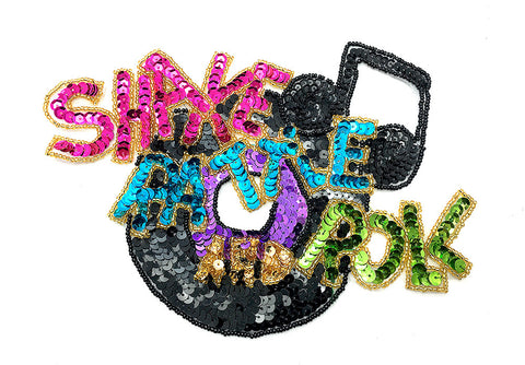 "Shake Rattle and Roll, Rock and Roll Sequin Beaded Applique 6.5"" x 8"""