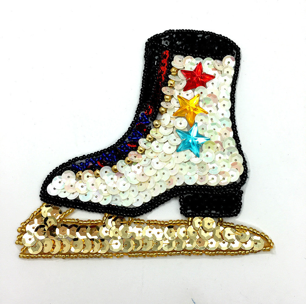 "Ice Skate, Sequin Beaded with Acrylic Stars  4.5"" x 4.75"""