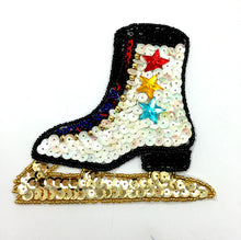 "Load image into Gallery viewer, Ice Skate, Sequin Beaded with Acrylic Stars  4.5"" x 4.75"""