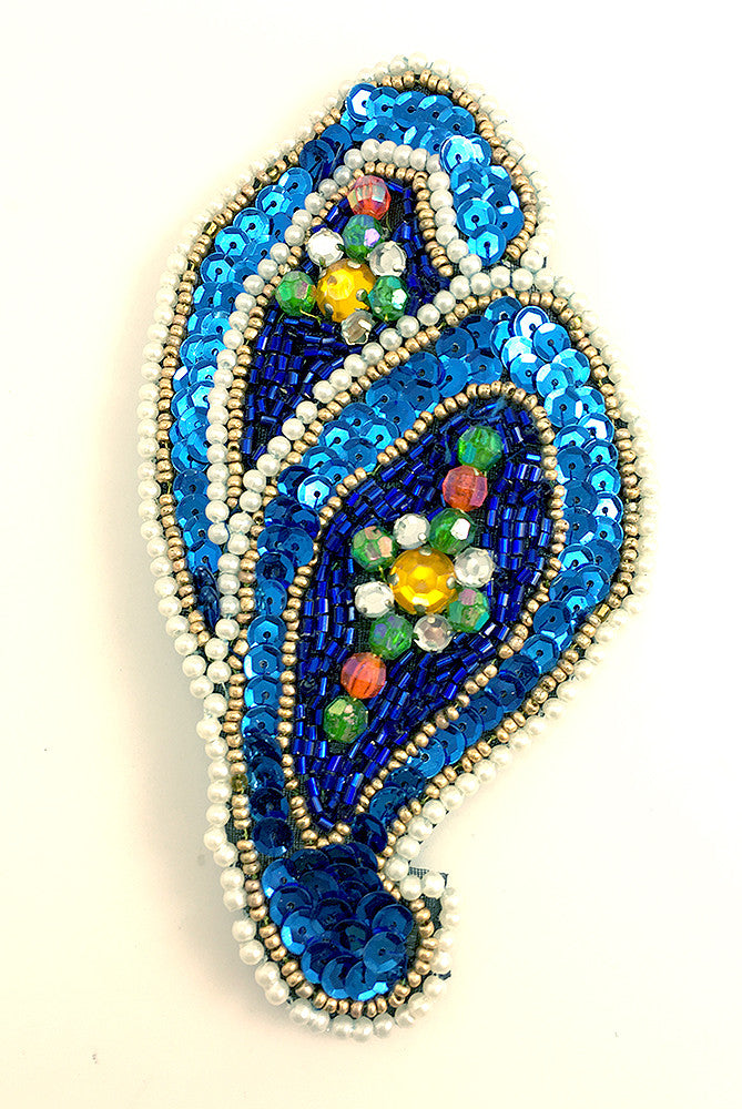 Designer Motif Paisley with Blue Sequins and Multi-Color Beads 5.5
