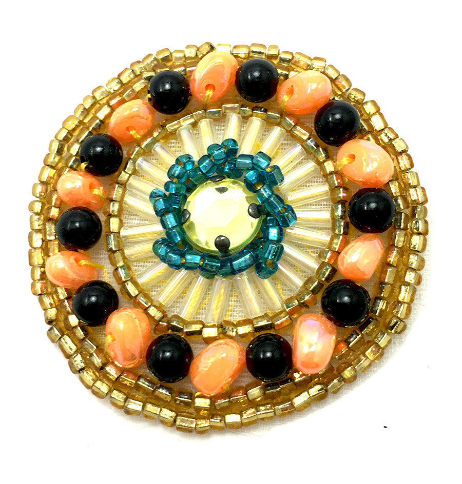 Designer Motif with peach black gold turquoise Beads and Rhinestone 1.75""