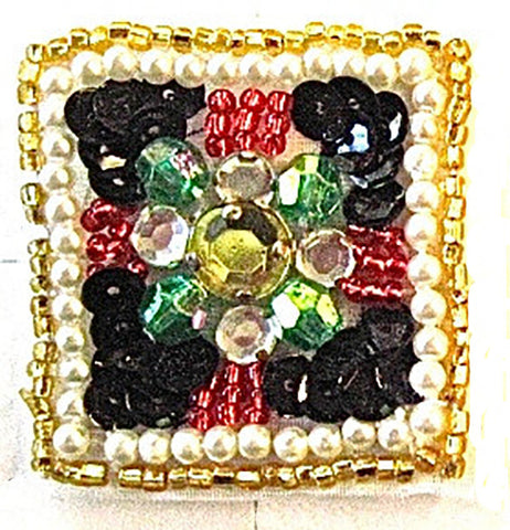 Designer Motif Jewel with Multi-Colored Stones Beaded Trim 1.5""