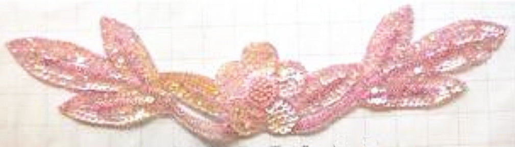 "Flower Neckline Pink Sequins and Beads 17"" x 4"""