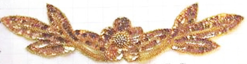 "Flower Neck Line with Gold Sequins and Beads 4"" x 17"""