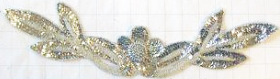 "Flower Neckline with Silver Sequins and Beads 17"" x 4"""