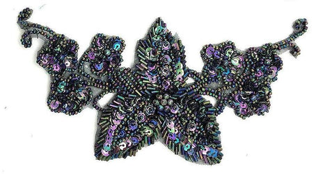 "Designer Motif Flower Pair with Moonlight Sequins and Beads 7.5"" x 4"""