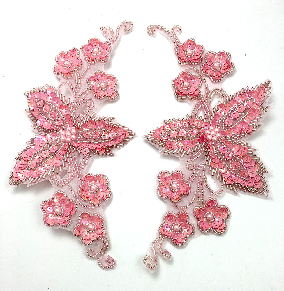 "Designer Motif Flower Pair with Pink Sequins and Beads 7.5"" x 4"""