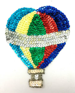 "Hot Air Balloon with Multi-Colored Sequins and Beads 3"" x 4.5"""