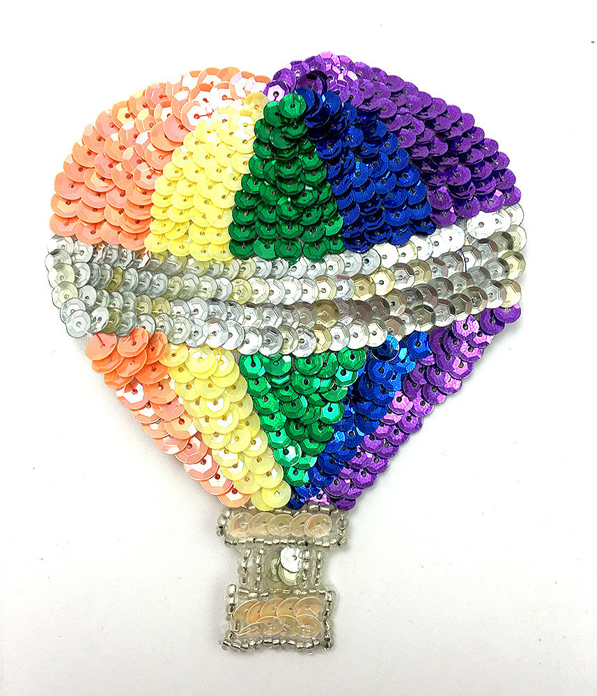 "Hot Air Balloon with Multi-Color Sequins and Beads  4.5"" x 3"""