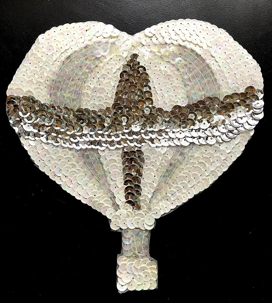 "Hot Air Balloon with White, Iridescent and Silver Sequins and Beads 6.75"" x 6"""