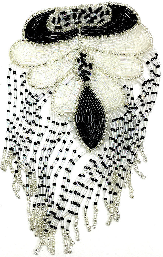 "10 PACK Epaulet Black White and Silver Beads 7"" x 4"" - Sequinappliques.com"