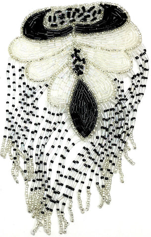 "10 PACK Epaulet Black White and Silver Beads 7"" x 4"""