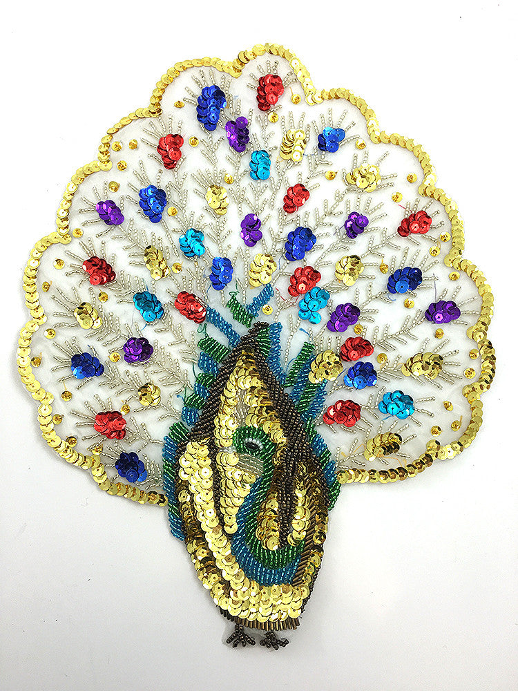 "Peacock with multi-Color Sequins and Beads  12"" x 10"""