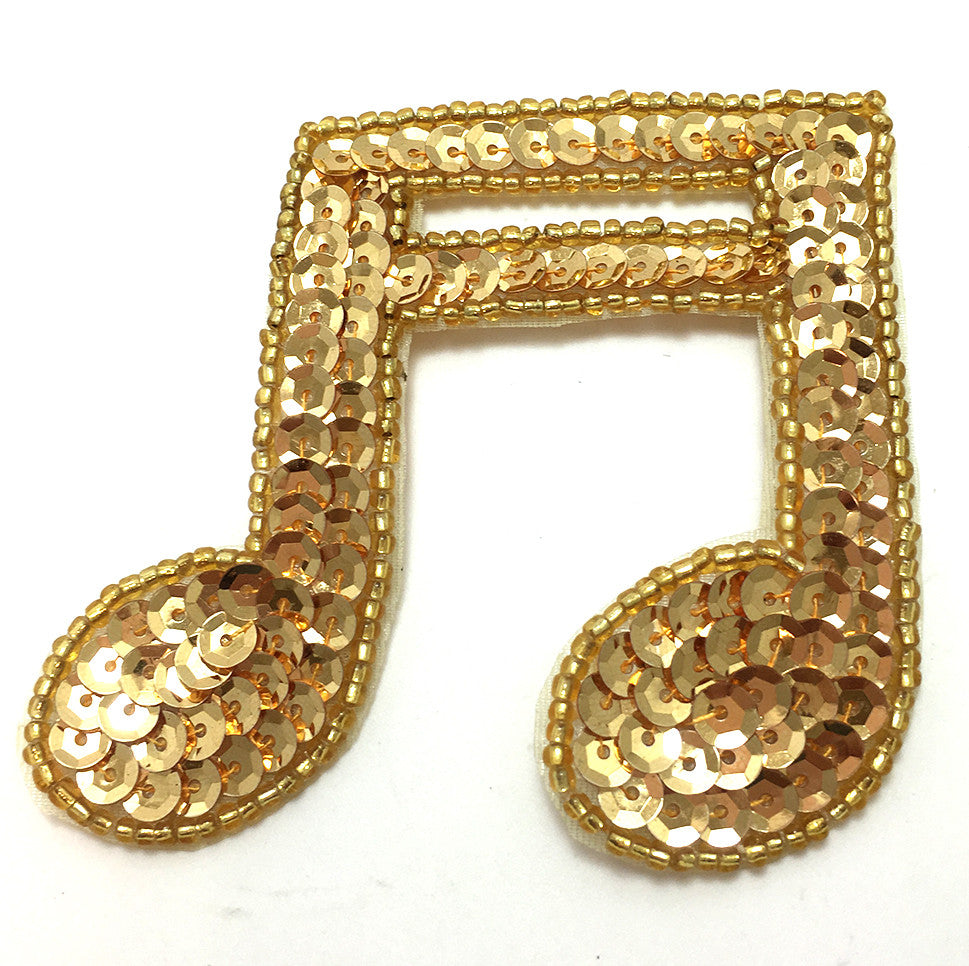 "Double Note with Gold Sequins and Beads 3"" x 3"""