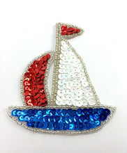"Load image into Gallery viewer, Sailboat with Red White and Blue Sequins and Beads 3.75"" x 3.25"""