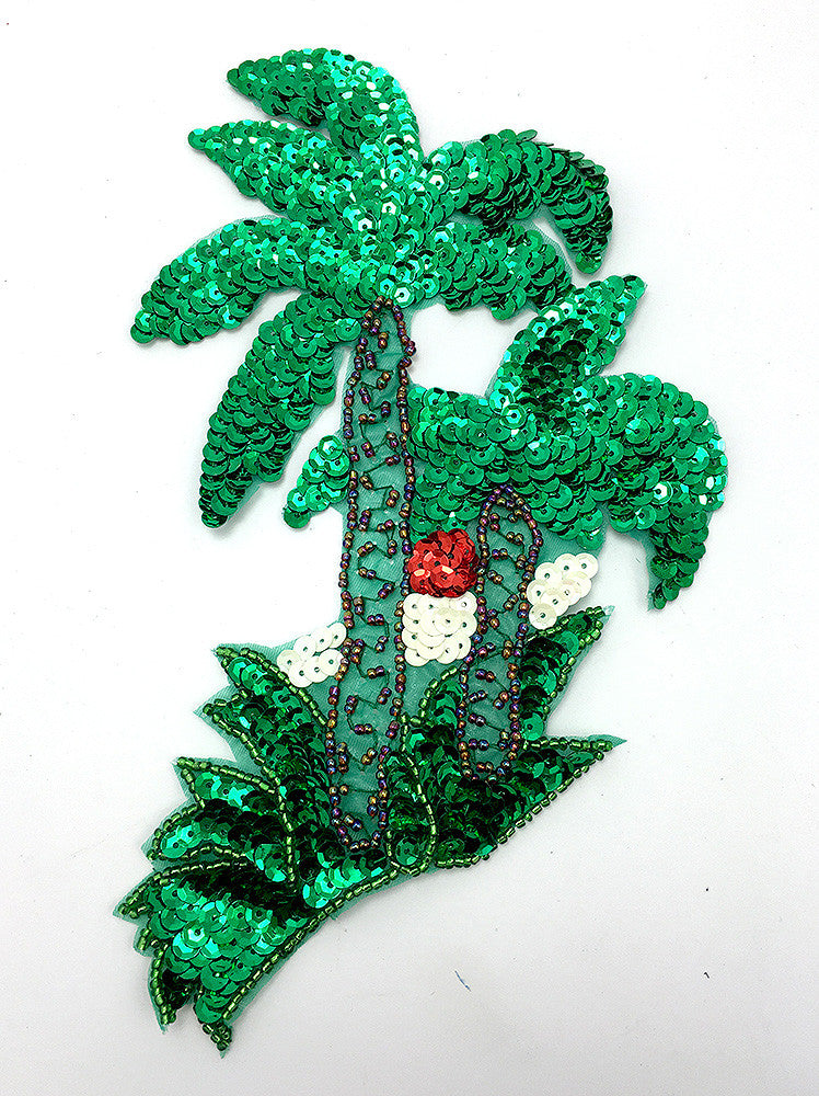 "Palm Tree with Green Sequins and Beads  7.75"" X 5.5"""