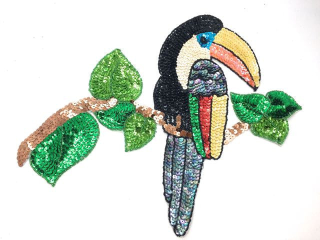 "Toucan on Branch  with Mulit-Color Sequins and Beads  16"" x 9"""