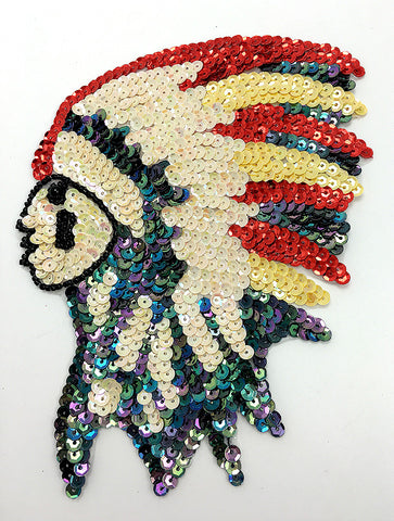 "Native American Chief with Beige Moonlight Red Yellow Sequins and Black Beads 7"" x 5"""