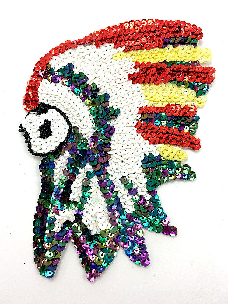 "Native American Chief with White Moonlight Red Yellow Sequins, Black Beads 7"" x 5"" or 11"" x 9"""