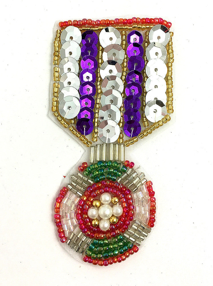 "Badge Medal with Multi-Colored Sequins and Beads 3.5"" x 2"" - Sequinappliques.com"